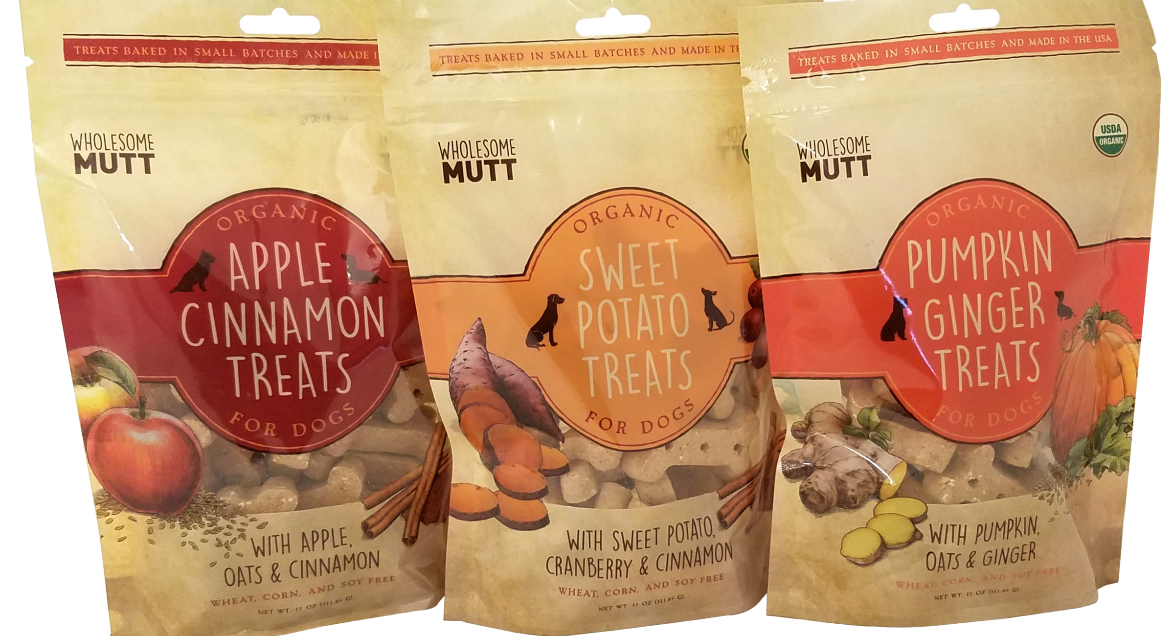 Wholesome Mutt Organic Dog Treats (Apple Cinnamon, Sweet Potato, and Pumpkin Ginger)